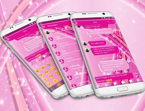 SMS Messages Sparkling Pink Theme 5.0 screenshots 7