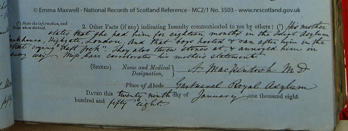 "Admission forms for John Rae Thomson MC2_1 No. 3503 image 3 section _ Facts indicated by others_ the boys called him ""daft feck"".jpg"