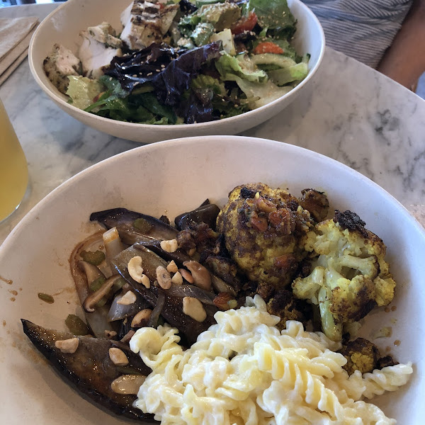 3 sides: GLUTEN-FREE Mac&cheese, spicy Japanese eggplant with basil and cashews, Indian spiced cauliflower with turmeric, date & almonds. All 3 are GF!