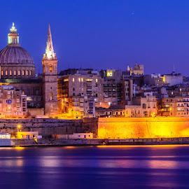 Valeta Blue Hour by Luis Silva - City,  Street & Park  Historic Districts ( malta, long exposure, tripod, golden hour, valeta,  )