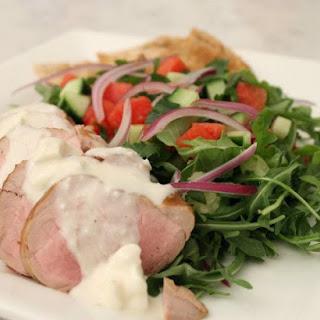 Sara Moulton's Grilled Pork Tenderloin with Watermelon-Arugula Salad.
