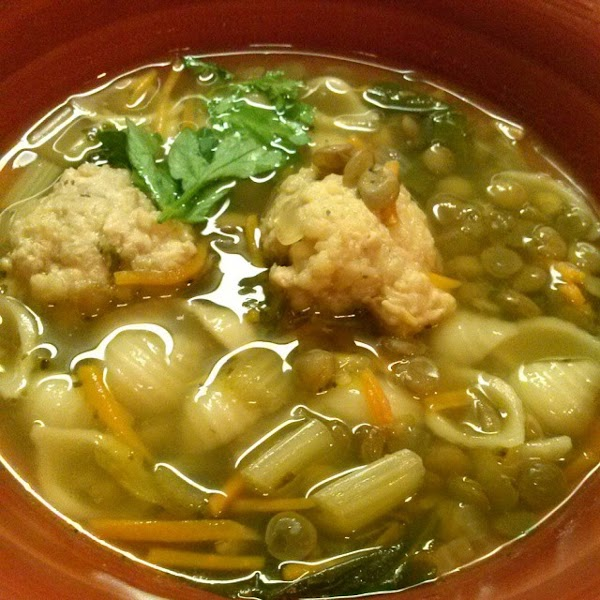 Spinach, Lentil, Chicken Ball Soup Recipe