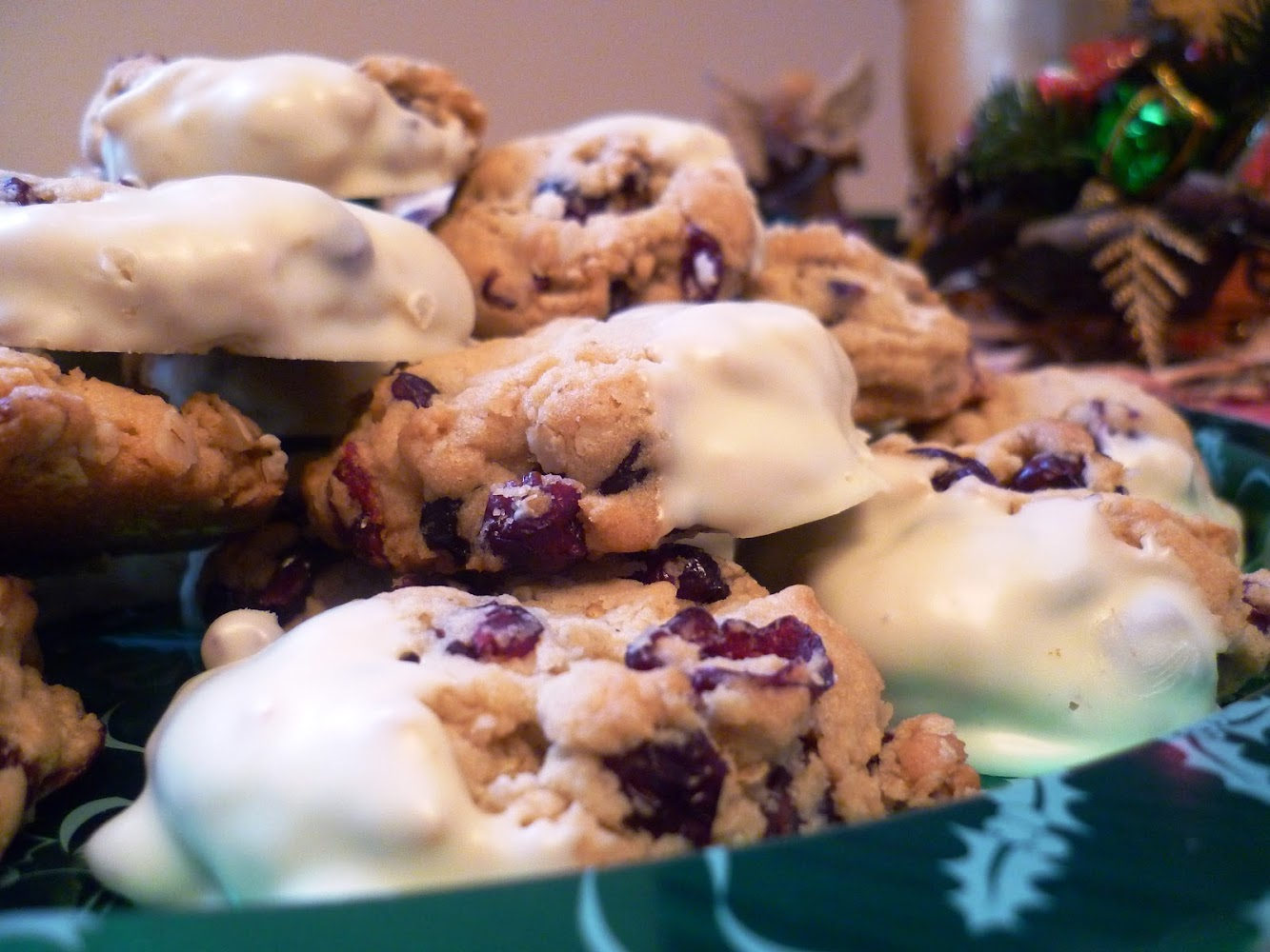 White Chocolate-Dipped Cranberry-Oatmeal Cookies