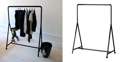 a cheap and simple clothes rack from ikea but it looks like it came from a