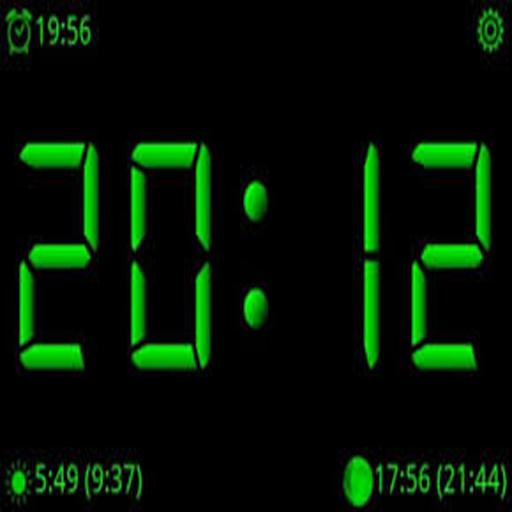 Красивые светящиеся синим цветом аналоговые часы для экрана блокировки android-устройств.