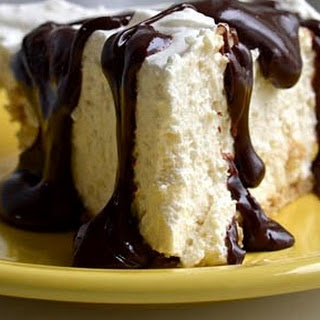 Creamy Coconut Cream Cheese Pie with Bimini Chocolate Sauce.