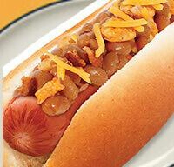 Hot Dogs Topped With Baked Beans And Onions Recipe