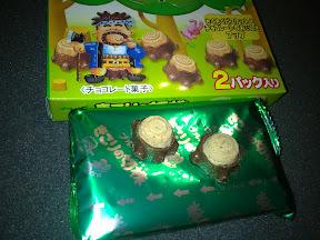 Baumstümpfe aus Keks und Schokolade