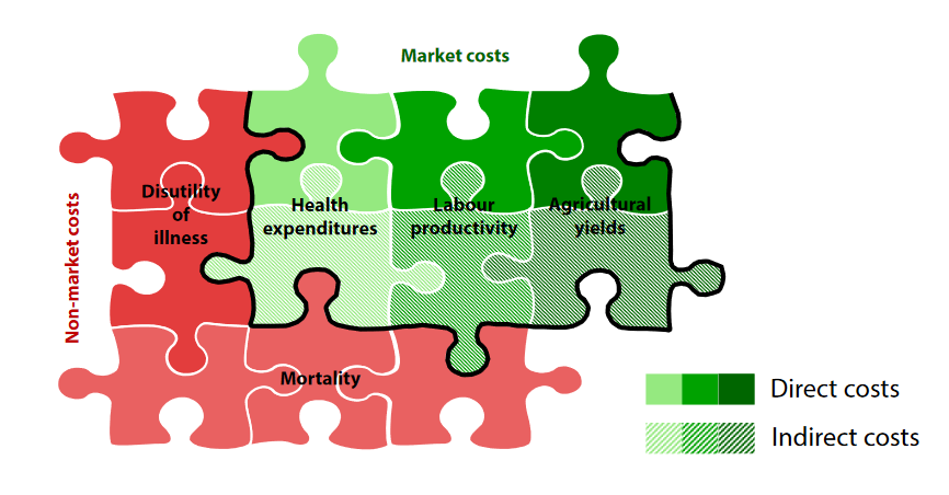 Market costs vs non-market costs, economic burden of air pollution