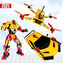 Flying Drone Robot Transform : Robot Car Transform icon