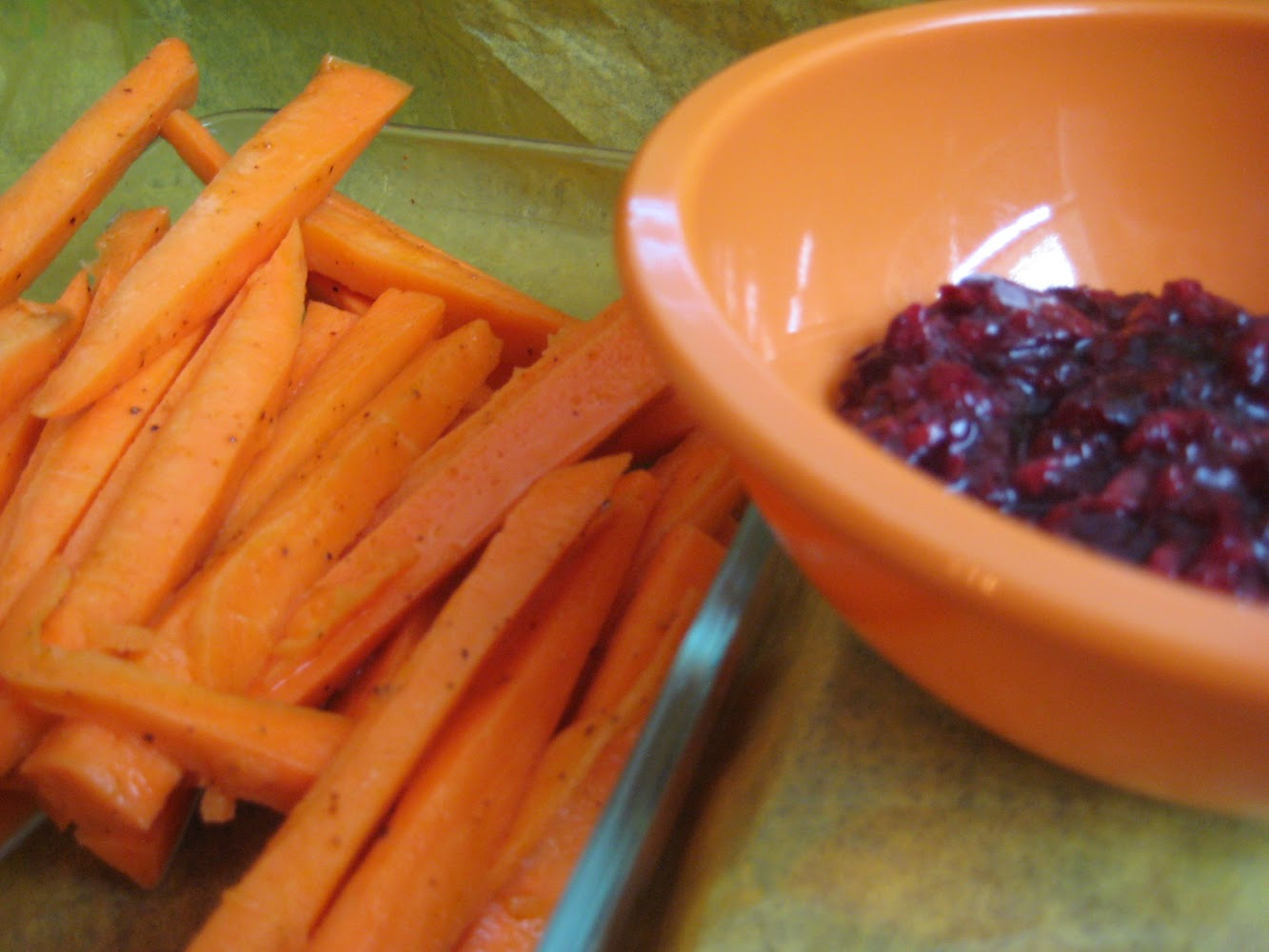 Sweet potato fries with Cherry Jam