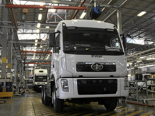 The 3,000th FAW truck rolls off the assembly line at the company's plant in Coega, Eastern Cape. Picture: FAW TRUCK SA