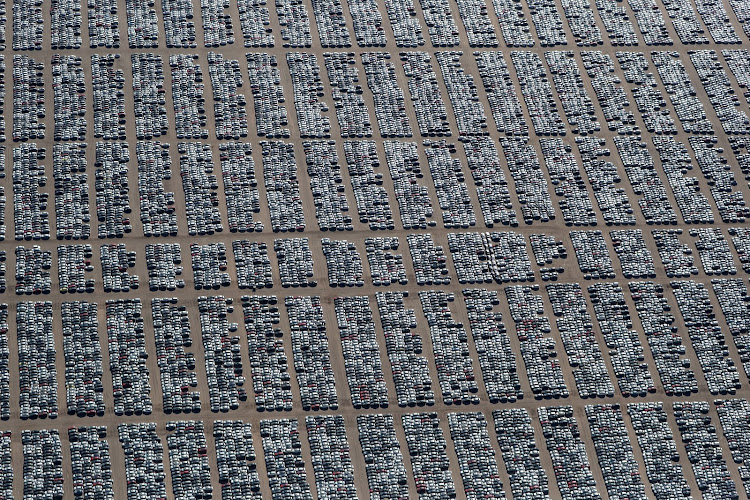 Volkswagen and Audi diesel cars, bought back by the Volkswagen group, stand in a desert graveyard near Victorville, California. Picture: REUTERS