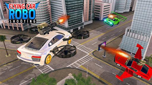 Flying Car Games 2020- Drive Robot Shooting Cars 1.0 screenshots 8
