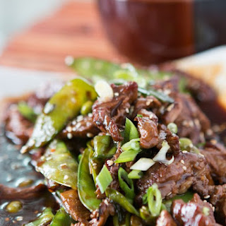 Beef with Snow Peas and Edamame.