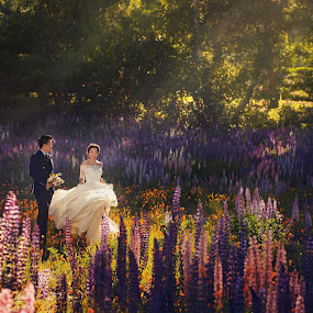 Lupines by Zhuo Ya - Wedding Bride & Groom ( zhuoya, zhuoya photography )