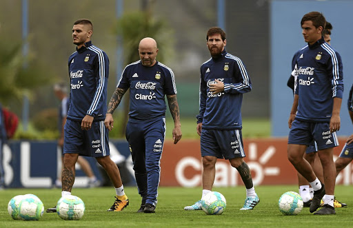 In a blue funk: Argentina's head coach Jorge Sampaoli, second left, has talented players such as Mauro Icardi, left, Lionel Messi, second right and Paulo Dybala in his squad, but his team are battling to qualify for the 2018 World Cup. Picture: REUTERS