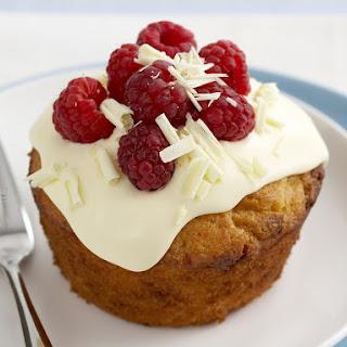 Mini White Chocolate and Raspberry Cakes.