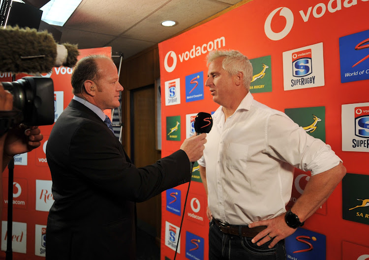 Under-fire Stormers head coach Robbie Fleck chats to presenter Robbie Kempson before the Super Rugby game against the Bulls at Newlands Rugby Stadium, Cape Town on May 5 2018.