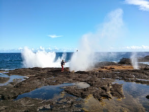 Photo: Launching coconuts at the Alofaaga blowholes