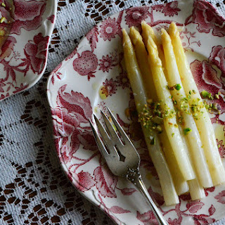 White Asparagus with Pistachio Oil & Lemon.