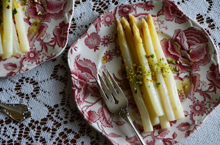 White Asparagus with Pistachio Oil & Lemon Recipe