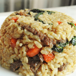 Basil Fried Brown Rice With Beef