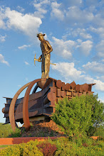 Photo: Designed by artist Jack Anderson and dedicated in 1987, the Iron Man stands in a roadside park off HWY 169 just across the street from Minnesota Discovery Center.