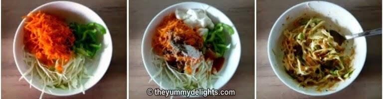 Preparing the cabbage salad for making veg club sandwich recipe