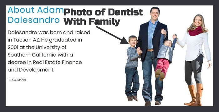 Picture of dental practice owner & family on