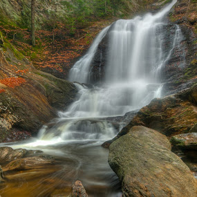 Moss Glen Falls by Kevin Hart - Landscapes Waterscapes ( water, moss glen, kevin hart, stowe, autumn, waterfall, vermont, landscape )