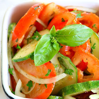 Tomato Cucumber Salad & Basil Parmesan Vinagrette