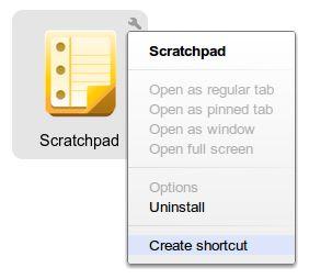 爲 Scratchpad 建立捷徑