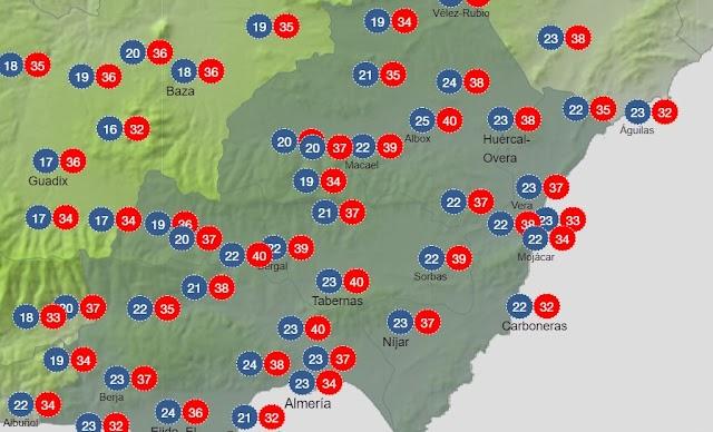 Mapa de la Aemet con las temperaturas para este domingo, 4 de julio.