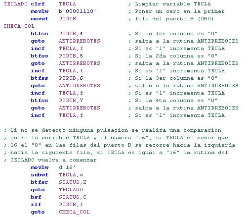 Código para identificar tecla en un PIC