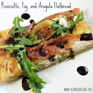 Prosciutto, Fig, and Arugula Flatbread.