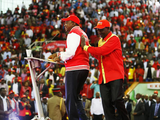 President UhuruKenyatta and DP William Ruto at the merger to form the Jubilee Party.