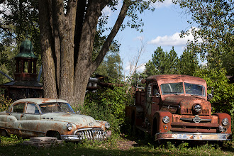 """Photo: i've never seen the movie cars but i'm not living under a rock either, so when a friend said """"it's doc and mater!"""" i knew just what she talking about! :) this is more beautiful rust from the grounds of Dr. Evermor's scrap metal sculpture garden near Baraboo, WI.  #rust  #oldcars"""