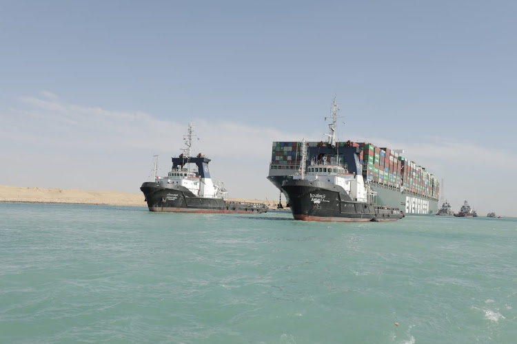 The Ever Given, one of the world's largest container ships, is seen after it was fully floated in Suez Canal in Egypt, March 29 2021. Picture: SUEZ CANAL AUTHORITY/HANDOUT/REUTERS