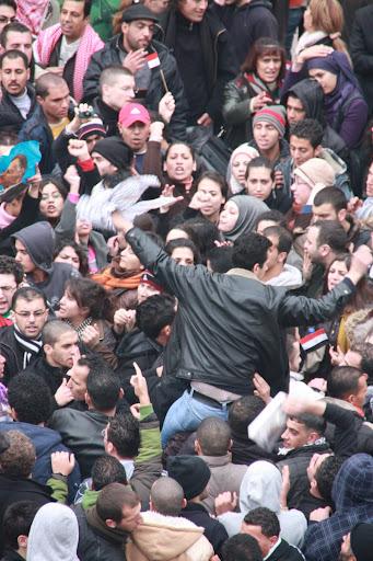 Photo of 5 February rally in Ramallah's Manara Square  taken by Hamza Abu 3ayash