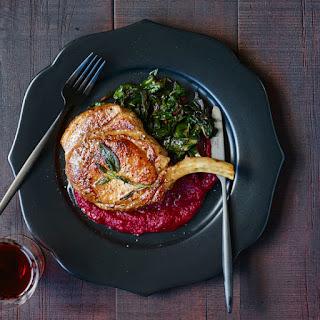 Pork Chops in Sage Butter with Beet Puree and Swiss Chard Recipe