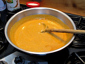 Photo: red curry sauce cooling to room temperature