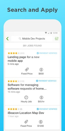 Screenshot 1 for Upwork's Android app'