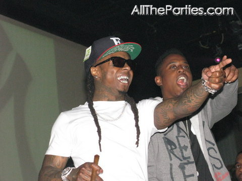 Foto do Lil Wayne na festa Super Bowl no clube Escapade