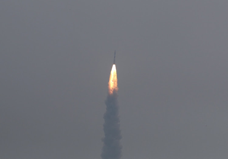 India's Polar Satellite Launch Vehicle carrying ASTROSTAT, India's first observatory satellite, lifts off from the Satish Dhawan Space Centre in Sriharikota, India on Monday. Picture: REUTERS