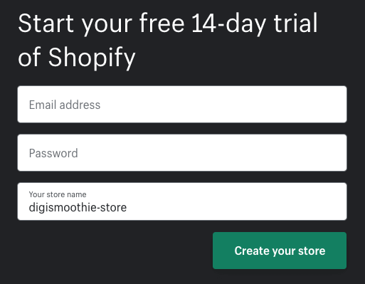 14 days Shopify trial