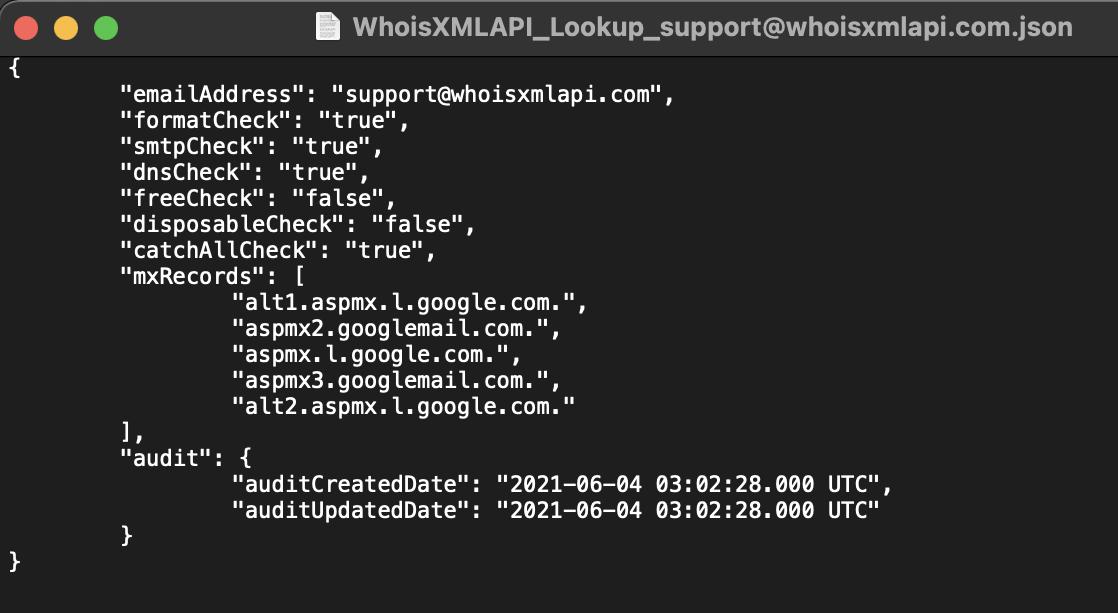 WhoisXML API JSON report