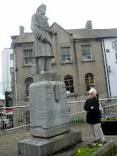Photo: Grammy admiring a statue in Athlone