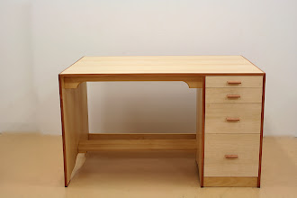 Photo: Desk- Peter Bond. Silver Ash, Rose Gum his very first attempt at woodworking
