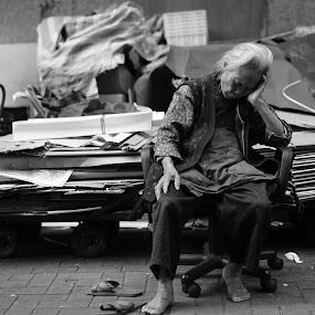 Take a rest by Billy C S Wong - Black & White Street & Candid ( old lady, seat, nap, street, tired, rest, grandma,  )